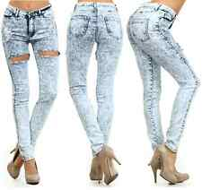 HIGH WAIST BLUE ACID MINERAL LIGHT WASH BIG HOLE DISTRESSED SKINNY DENIM JEANS
