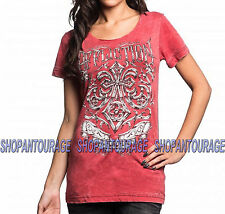 AFFLICTION Abrasive Lane AW12381 New Women`s Red Scoop Neck Burnout Top