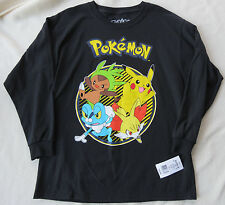 NWT Pokemon Boys (L) or (XL) L/S T-Shirt BLACK Pikachu Chespin Froakie Fennekin