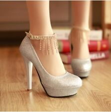 Spring Womens High Heel Bling Bling Wedding Party Round Toe Shoes Plus Size Hot