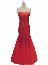 Red sequin bridesmaid evening prom military ball dress formal gown UK 8 -20