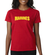 Marines Gold USMC Semper Fi Bulldog Military Pride Marine Ladies T-Shirt S-2XL