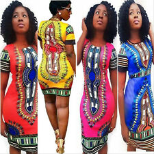 Women Sexy Summer Bohemia Traditional African Print Dashiki Bodycon Mini Dress