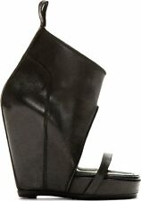 BRAND NEW RICK OWENS DISTRESSED BLACK LEATHER WEDGE SANDAL SHOES 38, 40
