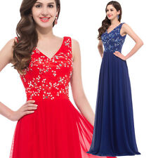 Deep V-Neck Chiffon Gown Evening Prom Party Dresses Formal Sequins Long Red Blue