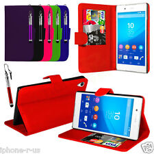 Leather PU Stand Wallet Case Cover, LCD Film & Stylus Pen For Sony Xperia Z3+