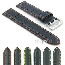 StrapsCo Tropic GT Rally Watch Band Mens Leather Strap Perforated Holes