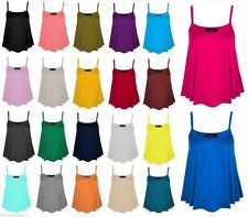 Women Summer Cami Flared Stretch Top Vest Ladies Plain Strap Swing Tank Top 8-26