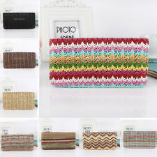 Retro Stripe Print Womens Straw Purse Long Handbag Wallet Ethnic Zipper Clutch