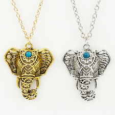 Boho Ethnic Ancient Turquoise Elephant Pendant Chocker Vintage Necklace Chain