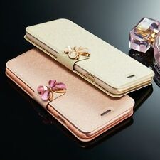 Luxury Silk Leather Flip Card Holder Wallet Cover Case For Samsung Galaxy/iPhone