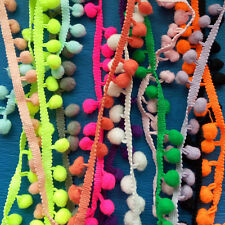 1M Ball Rainbow Pom Pom Bobble Trim Braid Fringe Ribbon Edging Craft Decor