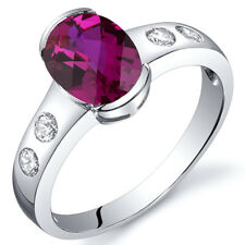 Elegant 1.75 cts Ruby Half Bezel Solitaire Ring Sterling Silver Size 5 to 9