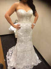 Sexy Mermaid wedding dress applique Lace Bridal Gown Strapless custom size SH124