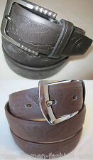 Mens Dress Casual Leather Belt 1-Prong Buckle with Flying Eagles Engraved M L XL