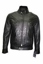 New Men's BLACK WAX 7173 Short Bomber Biker Motorcycle Style Real Leather Jacket