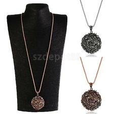 Fashion Womens Crystal Hollow Ball Pendant Long Chain Necklace Gold & Silver