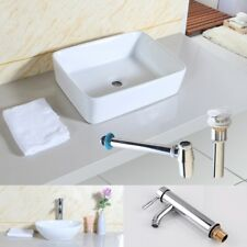BATHROOM CLOAKROOM COUNTERTOP BASIN SINK with Pop up Waste+Chrome Bottle Trap