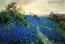 Handmade Julian Onderdonk Field of Bluebonnets Oil Painting repro on Canvas AD12