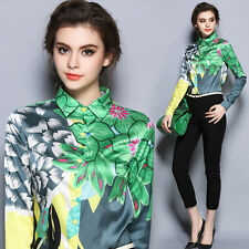 Fashion Occident Womens Turn-Down Collar Tops Long Sleeve Printed Shirt Blouses