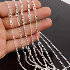 """1/5PCS Wholesale lots 925 Silver Plated 2MM Rolo Curb Chain Necklace 16""""-24"""""""