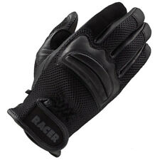 Racer Net Breathable Summer Motorcycle Motorbike Leather Textile Gloves - Black