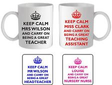Personalised keep calm great teacher mug/coaster, thank you end of term gift