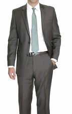 Alfani RED Slim Fit Dark Taupe Brown Stepweave Two Button Wool Blend Suit
