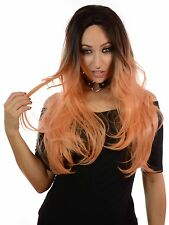 Trilogy Doll | Extra Long Rooted Straight Mini Lace Front Wig | Pink, Brown