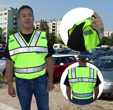 NEW HI VIS ANSI/ISEA Class 2 Police Security Safety Vest 4-Point Breakaway 3M