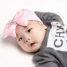 0~3 Months Cute Newborn Baby Infant Bowknot Diamond Hospital Cap Beanie Hat New