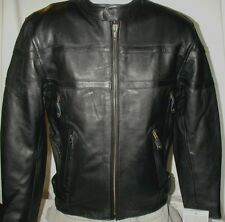 Mens Milwaukee Vented Top Grain Naked Leather Motorcycle Jacket Reg $249 Sizes