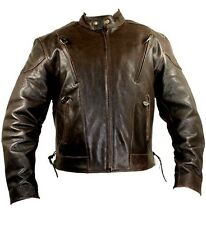 Retro Brown Heavy Leather Vented Speedster Motorcycle Jacket Sizes