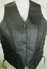 WOMEN'S BRAIDED 3 SNAP FRONT BLACK LEATHER MOTORCYCLE BIKER VEST