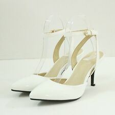New Women Mid Heels Sandal Patent Leather Pointed Toe Ankle Strap Pumps OL Shoes