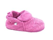 Ladies Coldbear Pink Cable Knitted Warm Full Bootie Slippers Sizes UK 3 - 7