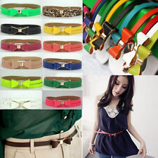 Cute Women Candy Color Big Bowknot PuLeather Thin Skinny Waistband Belt