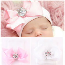 0~3 Months Lovely Newborn Baby Infant Bowknot Diamond Hospital Cap Beanie Hat AB