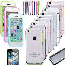 FOR APPLE IPHONE 5C TRANSPARENT CLEAR HARD CASE TPU COVER SKIN WITH FREE GIFTS