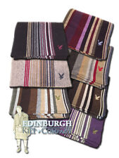 LYLE & SCOTT - 'HERITAGE' WOOL BLEND STRIPE SCARF WITH EAGLE LOGO - 7 COLOURS!