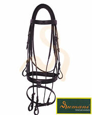 HORSE Bridle Leather with Rubber Reins--Black Cob -full- Horse Leather bridle