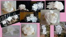 Satin Wedding Bridal White vintage style handmade Gold Silver Hair Comb crystals