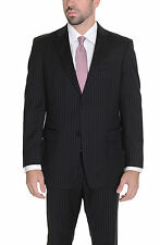 Tommy Hilfiger Trim Fit Black Striped Two Button Wool Suit