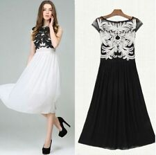 European Style Womens Elegant Embroidery Summer Floral Chiffon Lace Slim Dress