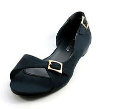 Marie Claire Womens Flat Shoes Navy Blue Buckle Suedette Open Peep Toe Ballerina