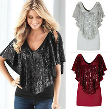 Womens V Neck Loose Sequin T Shirt Blouse Batwing Sleeve Casual Tops Summer