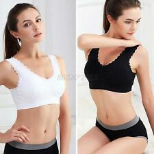 Ladies Sports Lace no rims underwear Bras Top Stretch Gym Yoga Athletic Vest