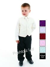 Baby Suit 4 Piece Black & Cream Pageboy Formal Party Wedding (0-3mths-9yrs)