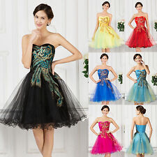 PEACOCK~Womens Short Bridesmaid Prom Dress Cocktail Evening Masquerade Ball Gown