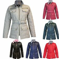Ladies Quilted Belted Padded Gold Zip Jacket Coat
